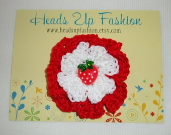 Crochet - Red and white crocheted Strawberry  flower hair clip