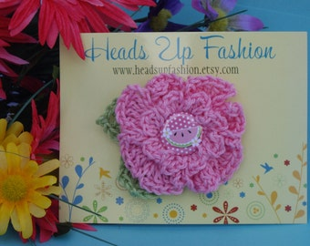 Crochet - Pink watermelon crocheted flower hair clip/with watermelon button  (photo prop)