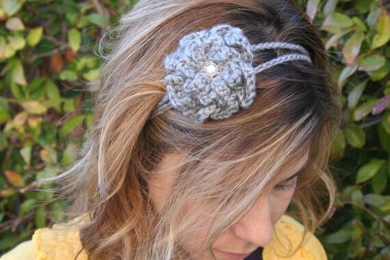 Crochet - Gray crocheted flower 2 strand headband