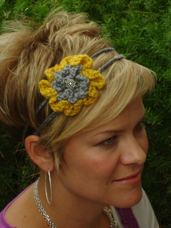 Crochet - Gold/gray  crocheted flower 2 strand headband