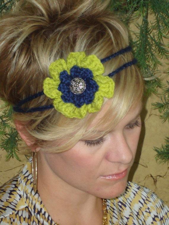 Crochet - Navy and Celery Green  flower crocheted headband (Photo prop), handmade, headband, girl, women, crocheted flowers
