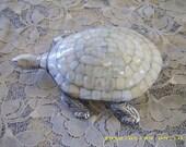 Large Beautiful Pewter MOP Turtle Display Piece