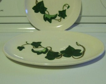 Vintage Poppytrail California Ivy pattern small platter plate dish (2) two pieces