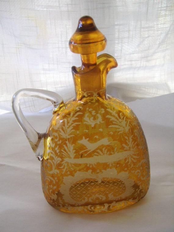 Vintage European Etched Amber Glass Liquor Decanter