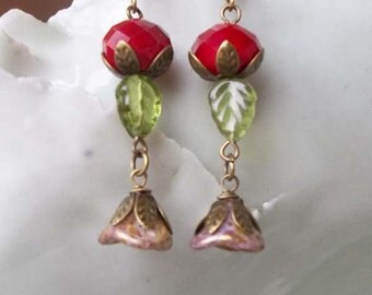 Red Quartz and Czech Glass Floral Earrings