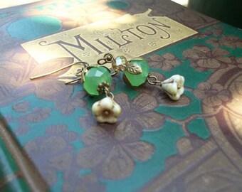 Dew Drop - Vintage Style - Jade Green Quartz and Czech Glass Earrings