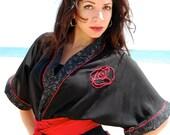 Black and Red MXD Kimono- Crea el Momento- Size S/M