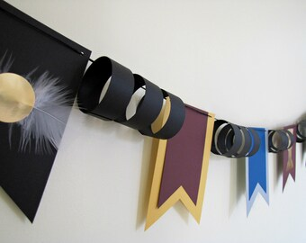 Harry Potter Paper Bunting Flags, Quidditch Cup Birthday Banner by Kiwi Tini Creations