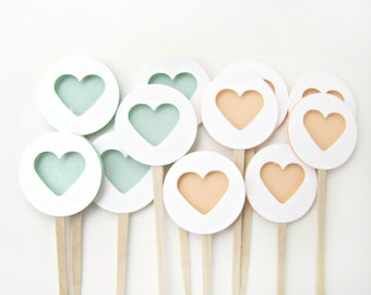 Peach and Mint Heart Cupcake Toppers. Set of 12 by Kiwi Tini Creations