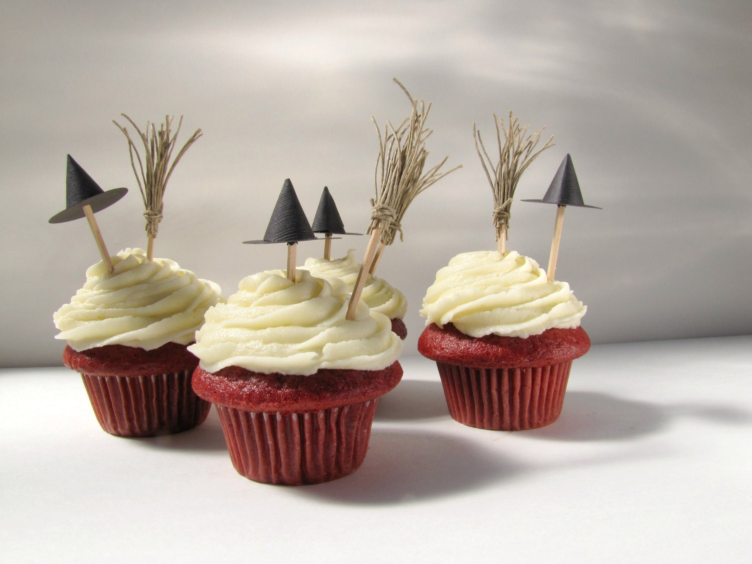 Halloween cupcake toppers witch hats and brooms cupcake - Halloween decorations for cupcakes ...