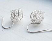 Wire nest earrings - silver
