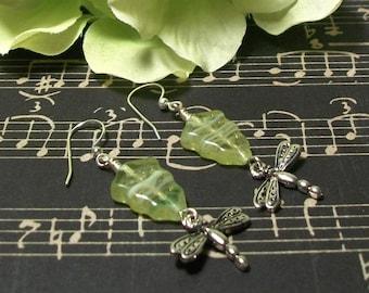 Dragonfly Earrings, Silver Dragonfly Earrings, Green Leaf Earrings
