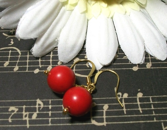 Red Lucite Earrings, Red Earrings