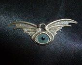 Glass eye Bat wings pendant Gothic Steampunk design Sterling Silver Signed DALI