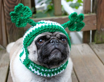 Dog Hat - Irish With Four Leaf Clovers /  Made to Order
