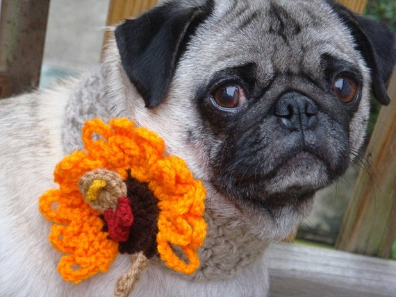 thanksgiving pug thanksgiving turkey neck warmer for dogs made to order 5717