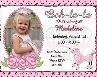 French Pink Poodle Paris Birthday Invitation Digital
