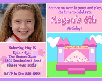 Personalized Photo Bounce House Birthday Invitation