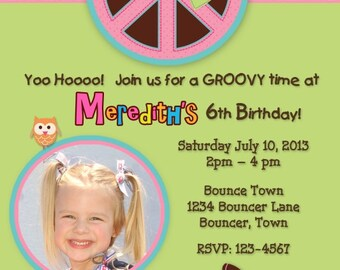 Hippie Chick Birthday Invitation DIY