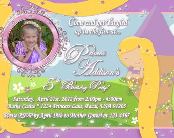 Tangled Rapunzel Like Personalized Birthday Invitation Printable