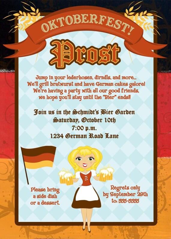 Personalized German Oktoberfest Invitation Many Designs – Oktoberfest Party Invitations