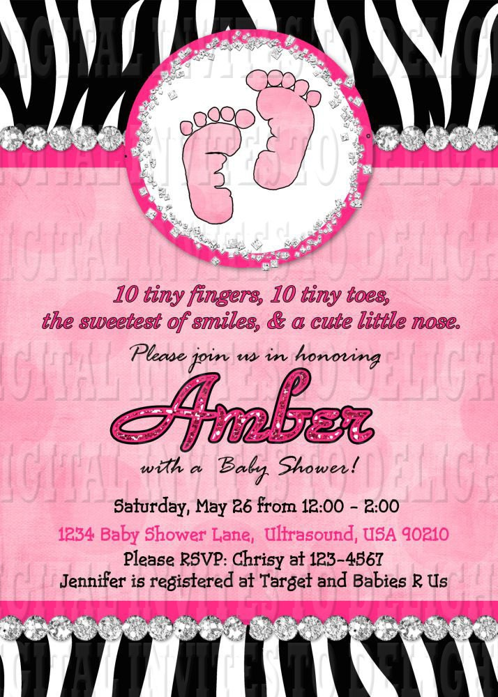 digital zebra baby shower invitation hot pink by invitestodelight
