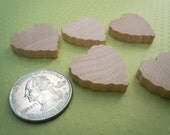 """10 Wood Heart Cutouts 1"""" Scalloped / Valentine Hearts For Crafts"""