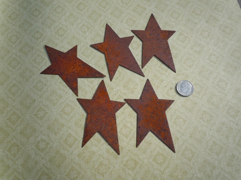 5 Rusty Tin Star Cutouts
