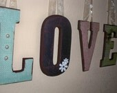Vintage Shabby Chic Theme Hanging Wall Letters