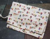 Japanese fabric- Matryoshka- Foldover Pocket Diaper Clutch