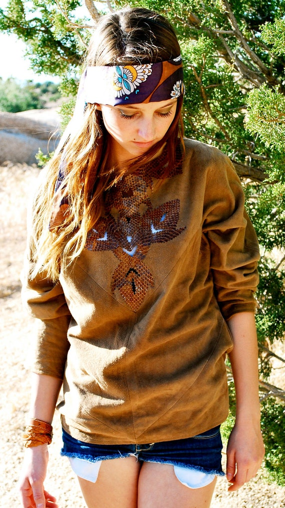 Tunic Top Vintage Authentic Leather Lotus Brand Hippie Suede and Snake Material