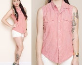 Red Chambray Sleeveless button up - Size S-M