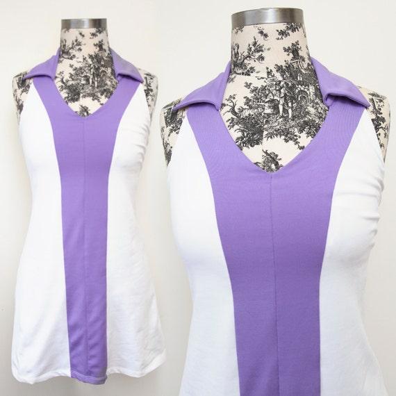 White and Lilac Mod Tennis Dress - Size XS