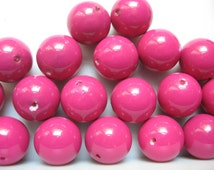 Vintage Fuchsia Pink Beads 1960s 14mm QTY - 5