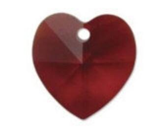 Vintage Swarovski Heart Pendant Siam Red 15x15mm QTY - 2