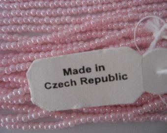 Vintage Pink Seed Bead Czech Republic 18 String Hank ONLY ONE I have left