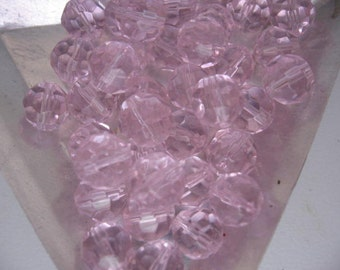 Pink Faceted Czech Crystals 8mm Round QTY - 28 ONLY LOT