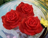 Red Rose Soap, Set of 3, scented in Cranberry fig