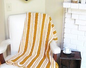 Vintage Afghan Crocheted Blanket Mustard Gold and White
