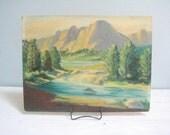 Vintage Landscape Painting on Board