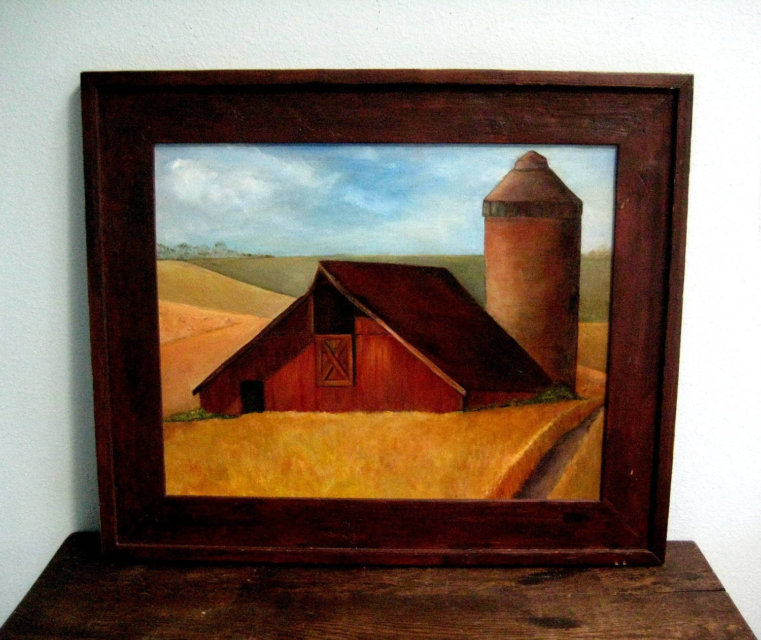 Vintage Painting Red Barn Wood Framed Country By TheMothYears