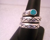 Vintage Snake Ring Sterling and Turquoise R633