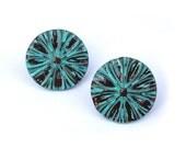 Teal Stud earrings  polymer clay jewelry