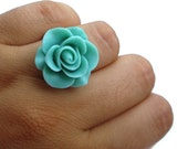 Flower ring, Statement Ring, Flower rose ring, Teal ring, gift under 15,