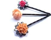 Hair pins, Flower Hair pins, Peach Hair pins, Orange Hair pins, Tangerine Hair pins, Pink Hair pins, Set of 3