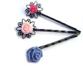 Flower resin Hair pins pink pigeon blue rose Set of 3 bobby pins