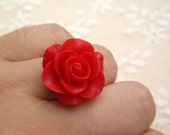 Red ring statement rose flower resin jewelry
