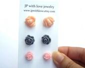 Flower Stud earrings Pink peach and gray  rose resin set of 3