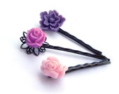 Lilac Hair Pins,  Flower Hair Pins, Hair Pins,Purple Hair Pins, Pink Hair Pins,