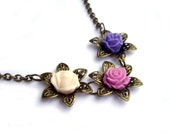 Valentine gift, Flower necklace purple, lilac, pink filigree flower rose resin flower jewelry